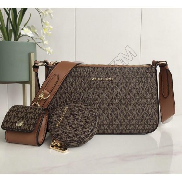 Женская кожаная сумка Mk 0100 beige Lux