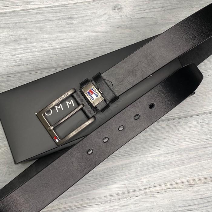 Мужской кожаный брендовый ремень (016) черный