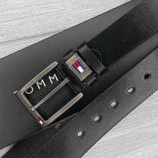 Чоловічий шкіряний брендовий ремінь (016) чорний