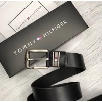 Мужской кожаный брендовый ремень (017) черный