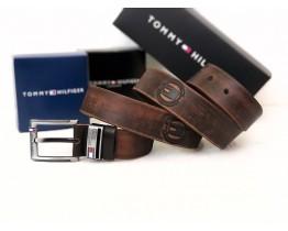 Мужской кожаный брендовый ремень (041) коричневый