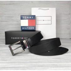 Мужской кожаный брендовый ремень (041) черный