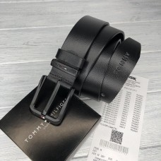 Мужской кожаный брендовый ремень (045) черный