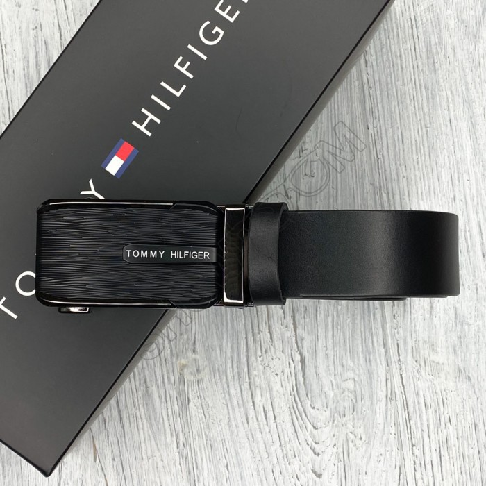 Мужской кожаный ремень с пряжкой автомат (063) черный