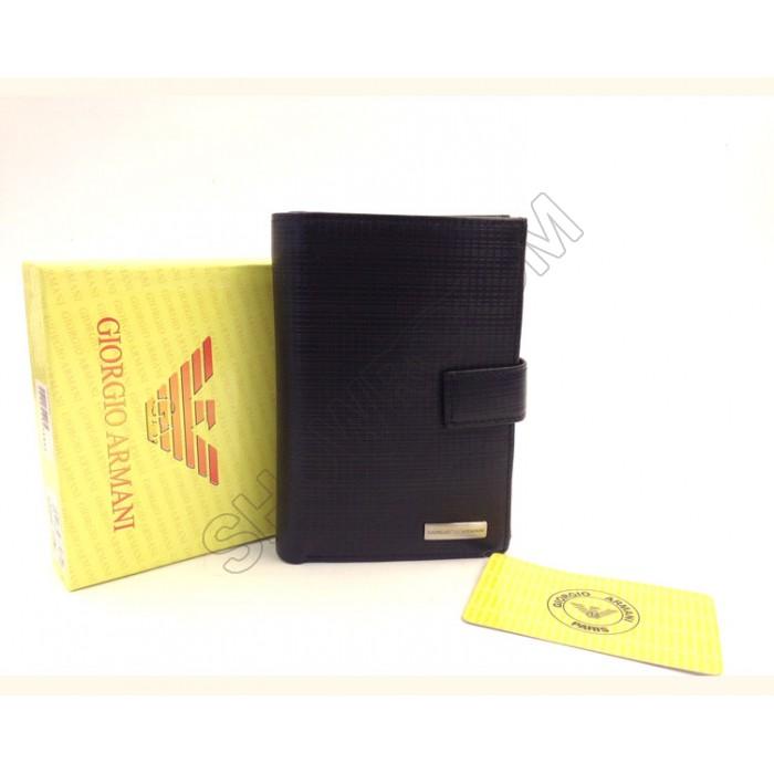 Мужское кожаное портмоне на кнопке Armani (086-936)