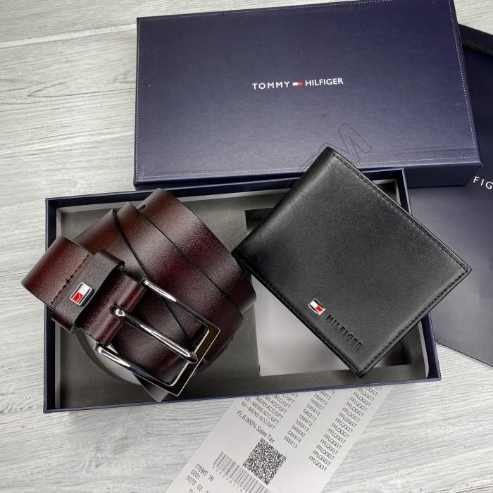 Мужской ремень + портмоне, подарочный набор (1011)