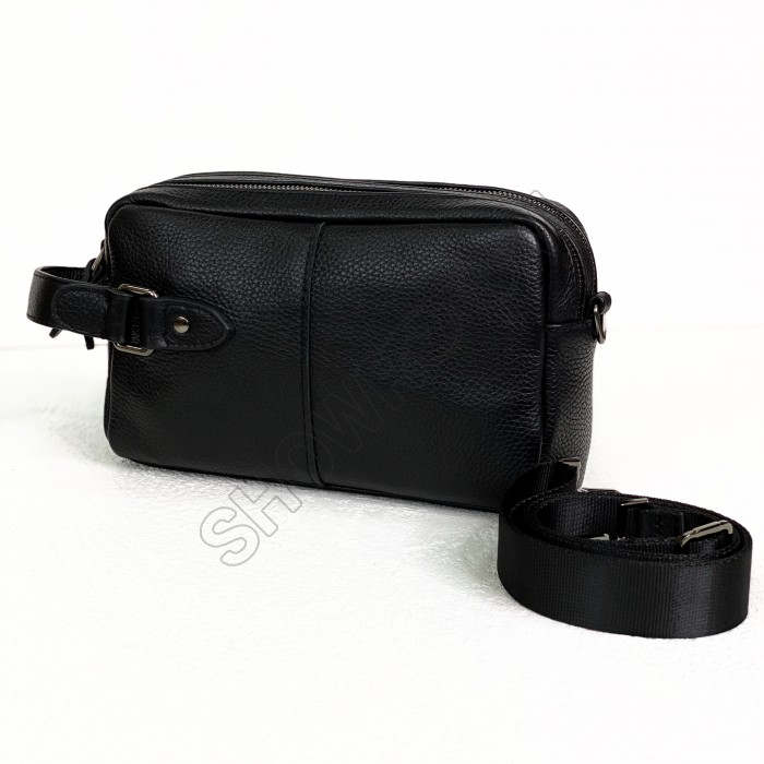 Мужская вместительная кожаная барсетка-сумка (146-4)