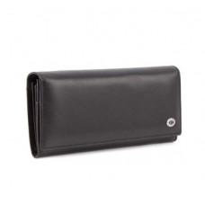 Женский кожаный кошелек на магните (15011) черный