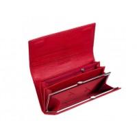 Женский кожаный кошелек на магните (15011) красный