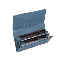 Женский кожаный кошелек на магните (15011) голубой