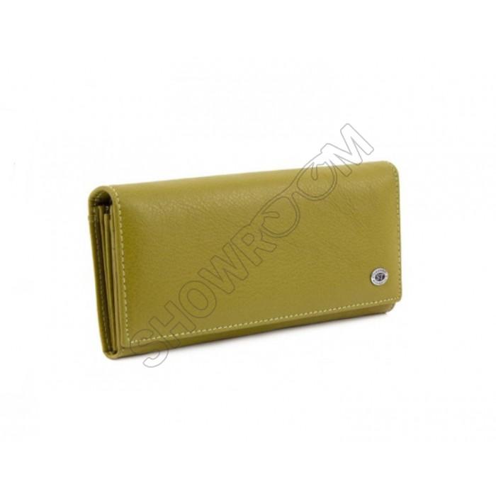 Женский кожаный кошелек на магните (15011) оливковый
