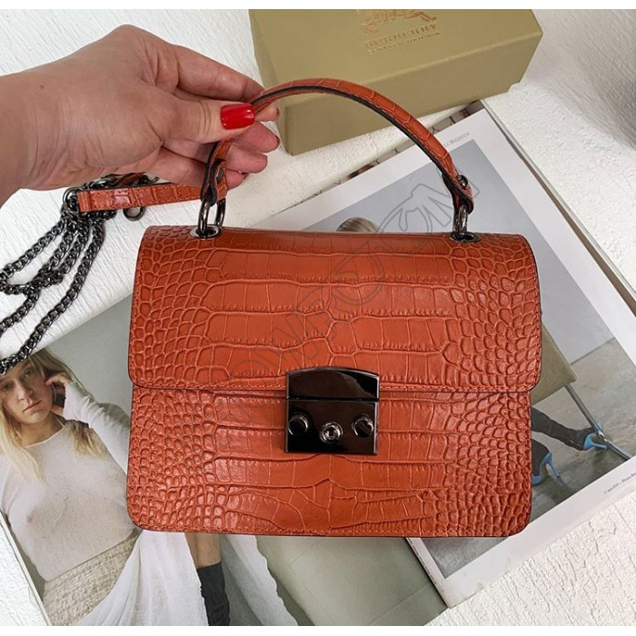 Женская сумочка через плечо Vera Pelle (171) терракотовая под рептилию