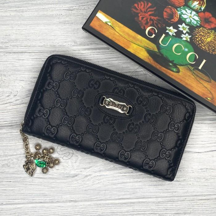 Женский брендовый кожаный кошелек GG (2001) black