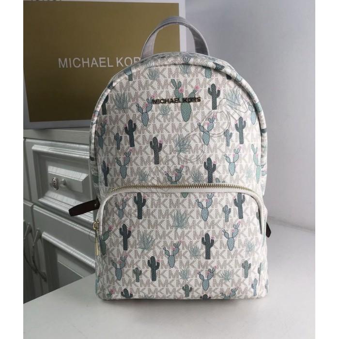 Женский кожаный брендовый рюкзак Michael Kors 2021-1 (cactus) Lux