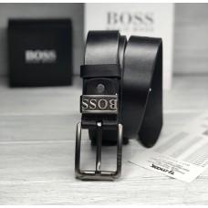 Мужской кожаный брендовый ремень (209) черный