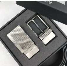 Мужской кожаный брючной ремень Boss (214), подарочный набор