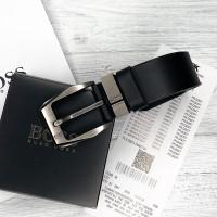 Мужской кожаный брендовый ремень (215) черный