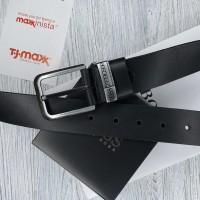 Мужской кожаный брендовый ремень (216) черный