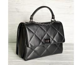 Жіноча італійська сумка Laura Biaggi (278) black шкіряна