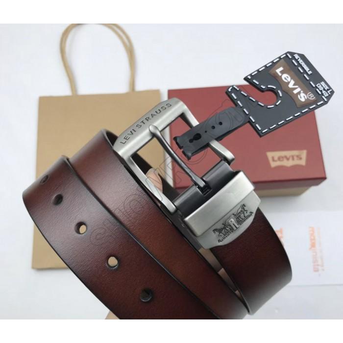 Мужской кожаный ремень Levis (3004) brown подарочная упаковка