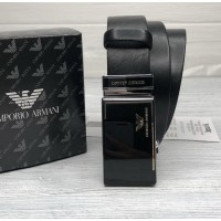 Мужской кожаный ремень с пряжкой автомат (310) черный