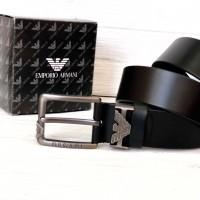 Мужской кожаный брендовый ремень для джинсов (311) черный