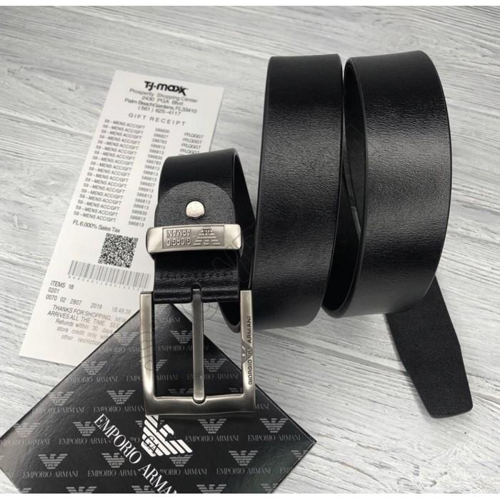 Мужской кожаный брендовый ремень для джинсов (314) черный