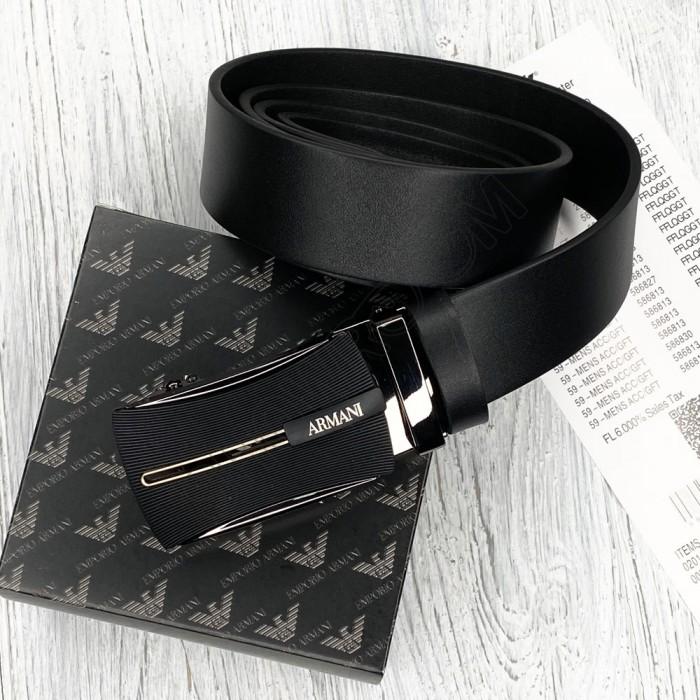 Мужской кожаный ремень с пряжкой автомат (319) черный