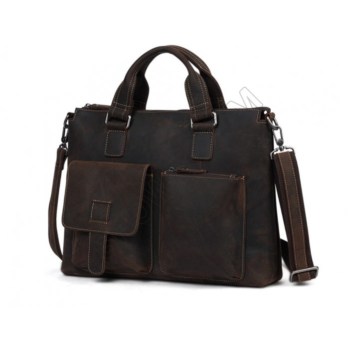 Кожаная мужская сумка под винтаж Wild Leather (260) коричневая