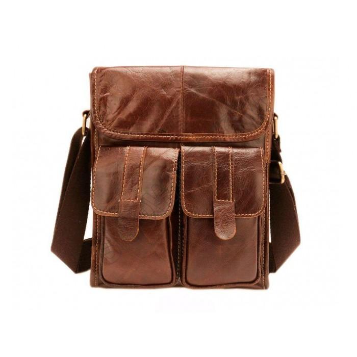 Вместительная мужская сумка Leather Collection (368) кожаная коричневая