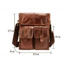 Містка чоловіча сумка Leather Collection (368) шкіряна коричнева