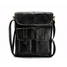 Містка чоловіча сумка Leather Collection (368) шкіряна чорна