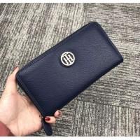 Женский брендовый кожаный кошелек на молнии (38450) blue