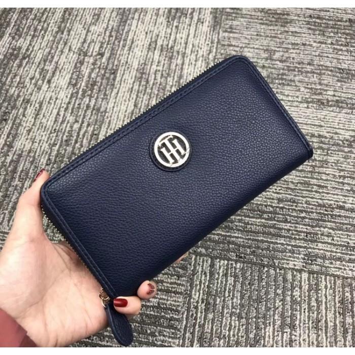 Мужской брендовый кожаный кошелек на молнии (38450) blue