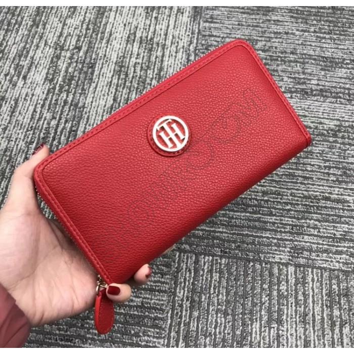 Женский брендовый кожаный кошелек на молнии (38450) red