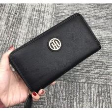 Женский брендовый кожаный кошелек на молнии (38450) black