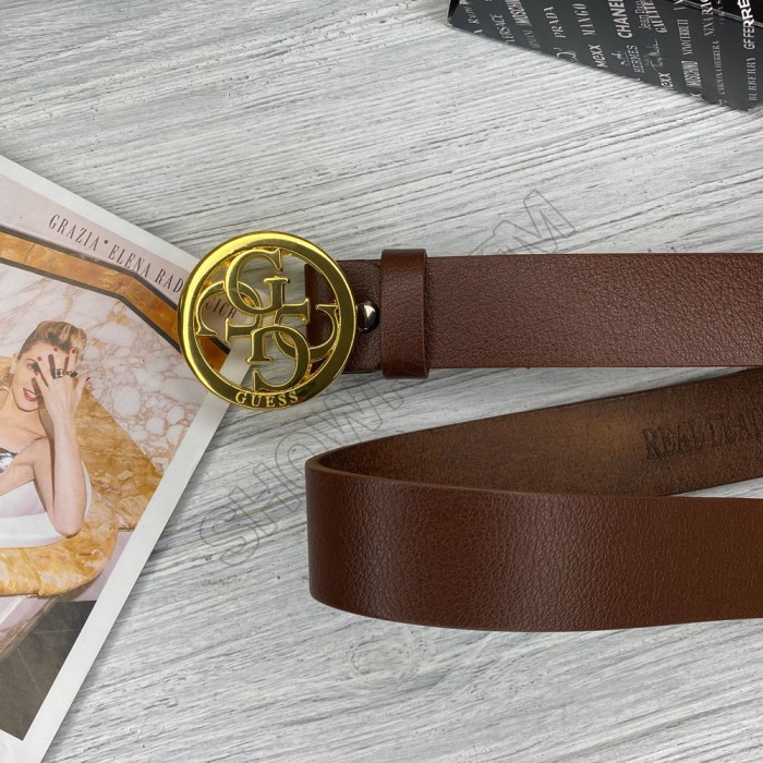 Женский кожаный ремень Guess (4001) brown