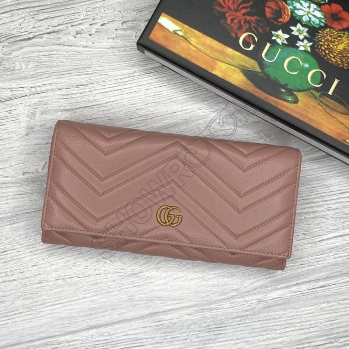 Кожаный женский кошелек GG (409301) powder Lux