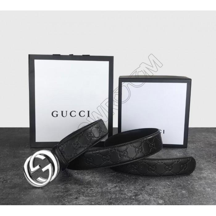 Мужской кожаный брендовый ремень GG (414516)