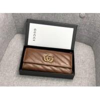 Женский кожаный кошелек GG (443436) коричневый