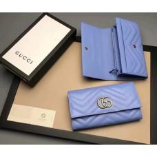 Женский кожаный кошелек GG (443436) голубой
