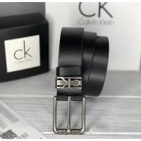 Мужской кожаный брендовый ремень (445) черный