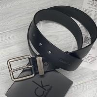 Мужской кожаный брендовый ремень (465) черный