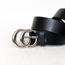 Женский модный кожаный ремень GG (5002) silver