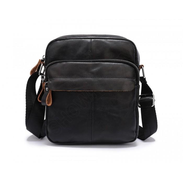 Мужская сумка через плечо Leather Collection (5036) кожаная черная