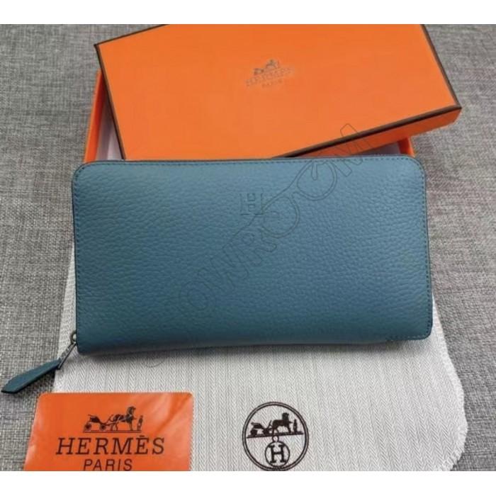 Женский брендовый кожаный кошелек H (506) blue