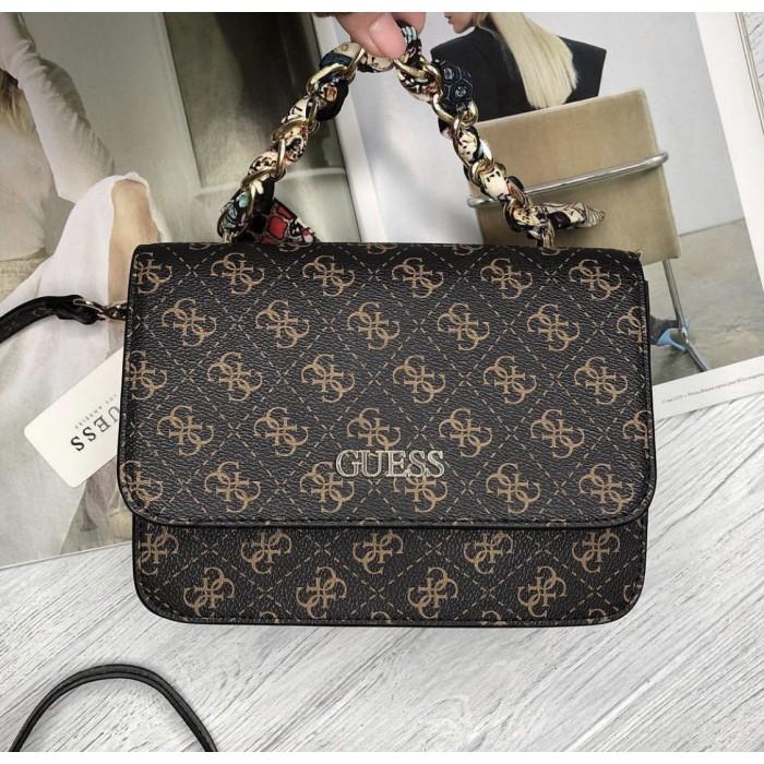 Женская брендовая сумка на плечо Guess (602814) коричневый