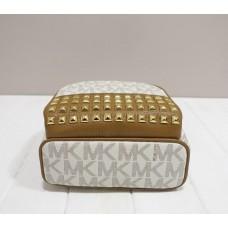 Женский кожаный брендовый рюкзак Michael Kors beige (6180 mini) Lux