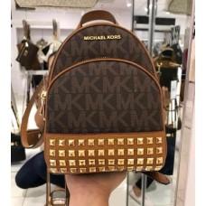 Женский кожаный брендовый рюкзак Michael Kors brown (6180 mini) Lux
