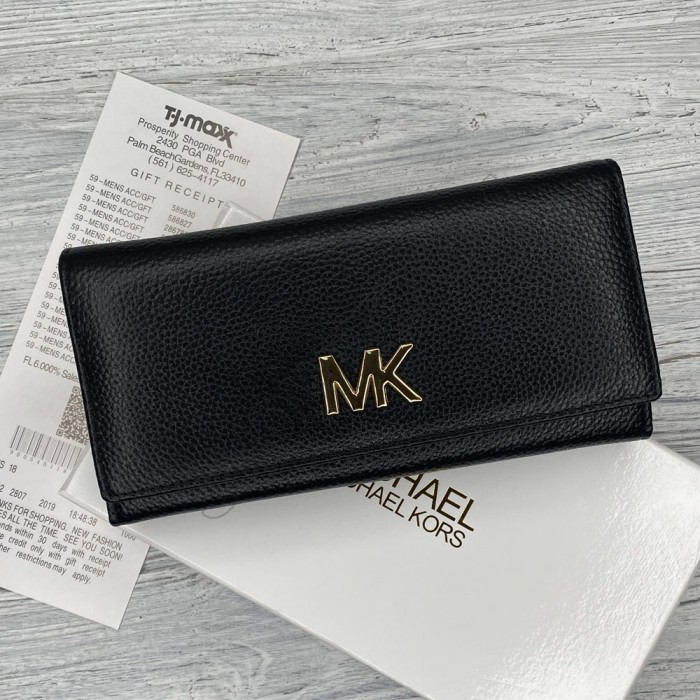 Кожаный женский кошелек Мк (8005) black Lux